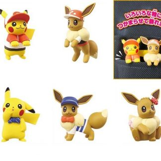 Pokemon Lets Go Set: Pikachu & Evee Adventure Mascot (Gacha) (5pc Set)